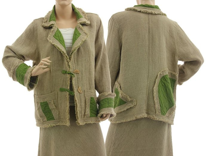 Boho linen jacket, linen silk jacket medium to plus size, lagenlook natural