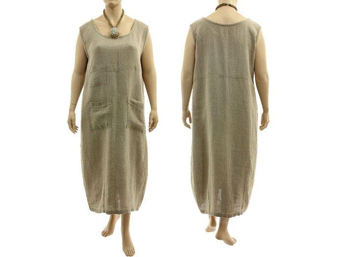 Maxi linen plus size tank dress dark natural, long linen summer pinafore dress,