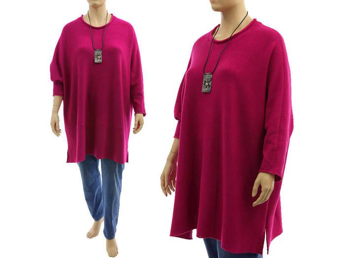 Oversized merino sweater, plus size pink magenta merino wool long knitted
