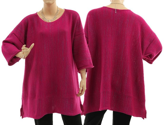 Knitted pink plus size sweater with glitter thread, oversized magenta knit