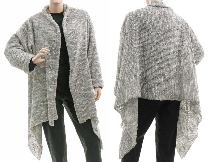 Grey knitted plus size sweater, wool mix sweater cardi wrap full front open,