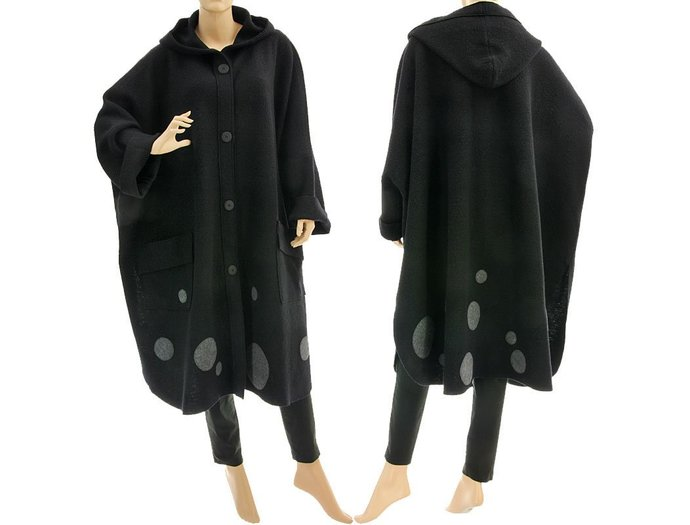 Black plus size hooded coat from boiled felted wool, black wide spring fall cape