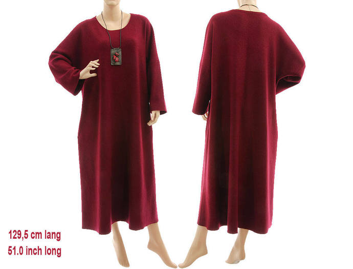 Maxi plus size wool sweater dress, going out dress boiled felted merino wool,