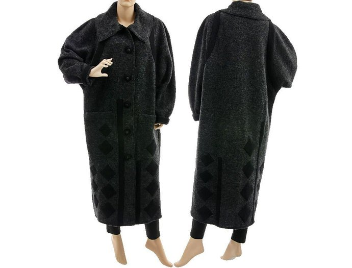 Plus size maxi coat in dark grey, fall winter boiled wool coat grey + black
