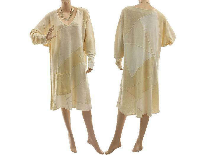 Plus size knitted wool sweater dress, patchwork ecru wool sweater dress,