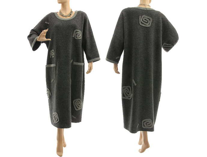 Long plus size dark grey wool dress, going out dress merino wool, lagenlook