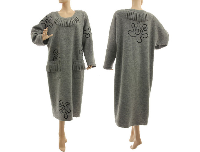Maxi plus size grey wool dress, going out dress merino wool, lagenlook grey