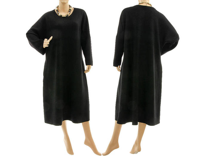 Black plus size wool dress, going out dress boiled felted fine merino wool,