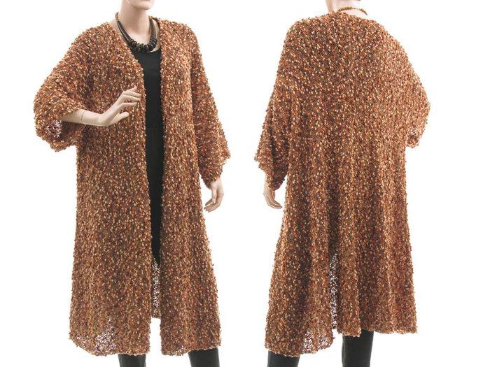 Hand knitted brown merino sweater coat, oversized sweater coat merino wool, hand
