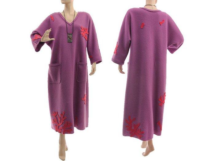 Maxi plus size wool dress, purple boiled felted merino wool dress, fall winter
