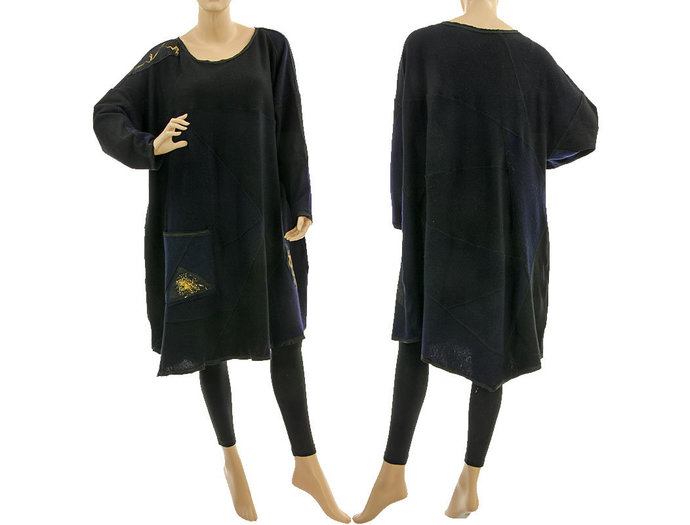 Plus size knitted sweater dress in black and navy, oversized fall winter wool