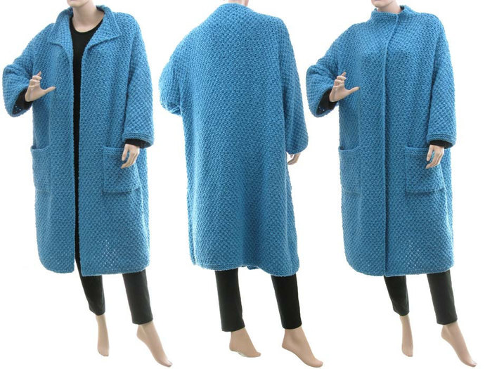Hand knitted blue sweater coat, luxurious oversized sweater coat with cashmere,