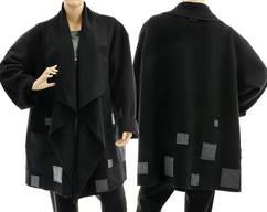 7e033719aff Boho black wool jacket waterfall collar