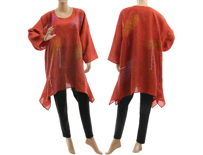 Boho plus size linen tunic, hand painted linen tunic red orange, art to wear
