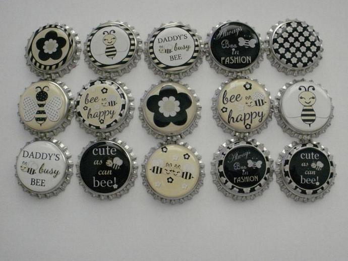 M2MG Bee Chic Finished Bottle Caps
