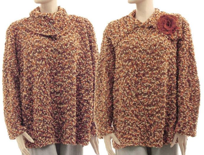 Fall winter brown knitted sweater, plus size oversized merino sweater, lagenlook