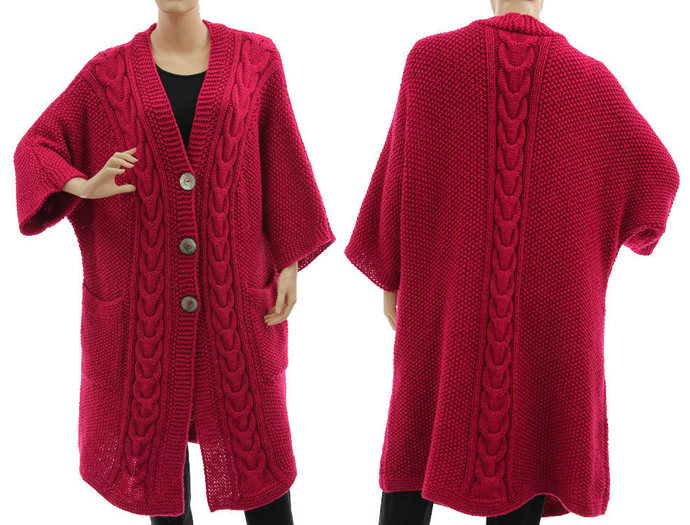 Hand knitted plus size sweater coat in dark pink, magenta alpaca mix cabled