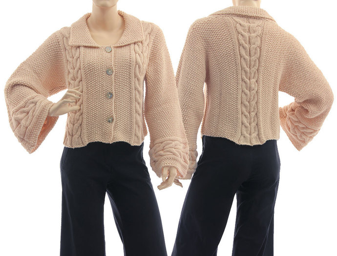 Hand knitted sweater in nude, cabled textured chunky sweater alpaca mix, hand