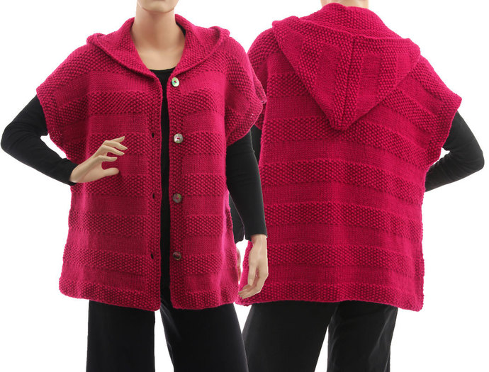 Oversized hooded sweater in magenta, hand knitted dark pink sweater alpaca mix,
