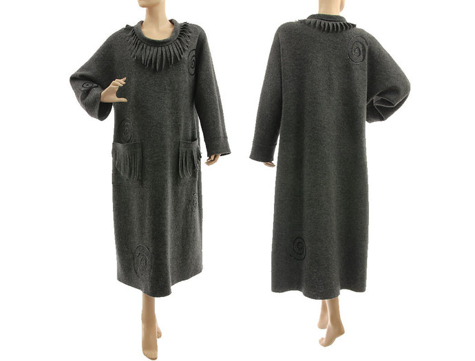 Fall winter plus size dark grey wool dress, going out grey dress boiled felted