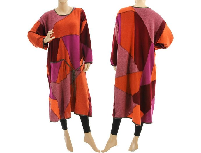 Plus size knitted maxi sweater dress, fall winter wool patchwork dress rust pink