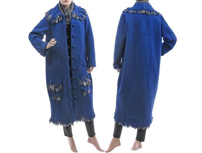 Boho blue wool maxi coat, fall winter spring boiled wool coat, long cobalt blue