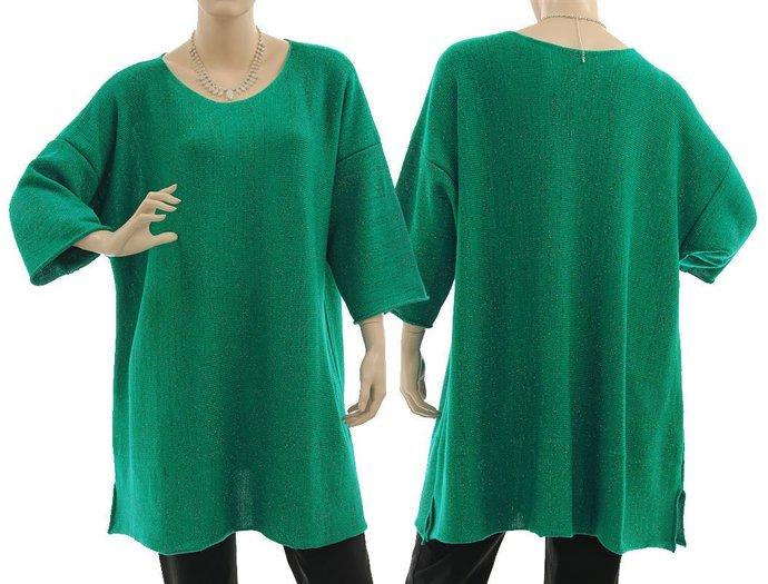 Green merino plus size sweater, oversized sweater with glitter thread, lagenlook