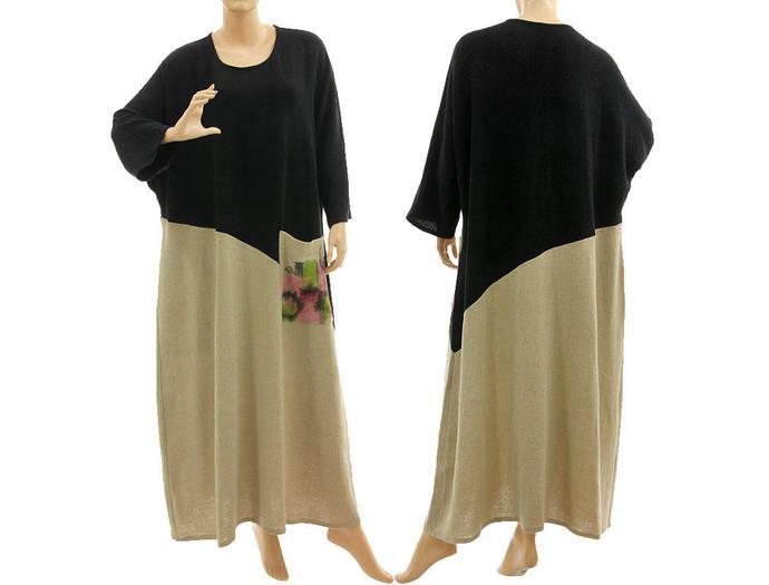 Boho maxi plus size linen dress, hand painted fall winter linen dress in black