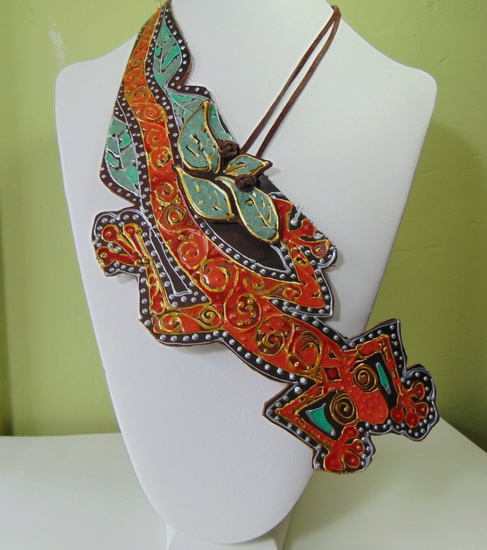 Painted Leather Lizard Bib Necklace