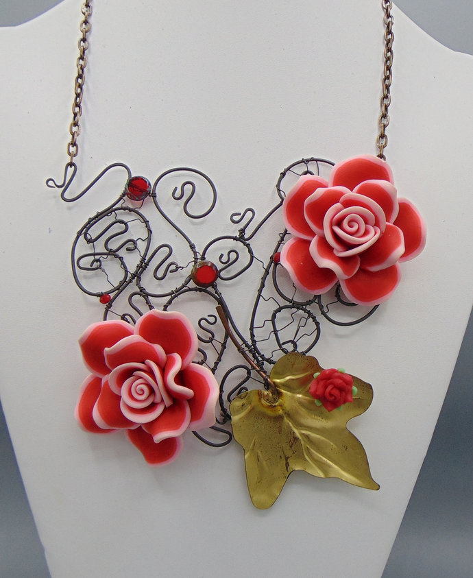 Sculpted Annealed Steel w Polymer Clay Roses Necklace