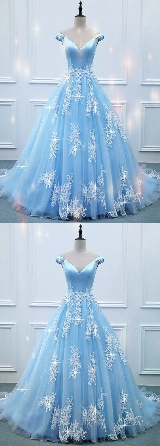 Elegant V-neck Off Shoulder Light Blue Prom Dresses Ball Gowns