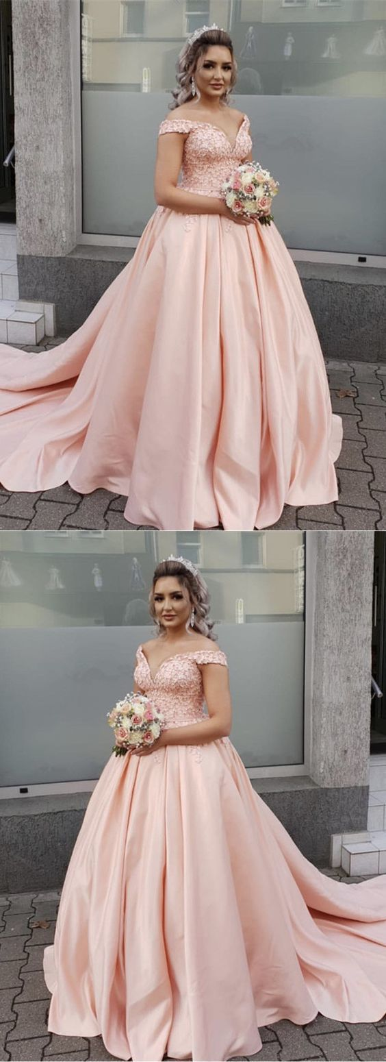 Blush Pink Wedding Dresses Ball Gowns Lace Off Shoulder