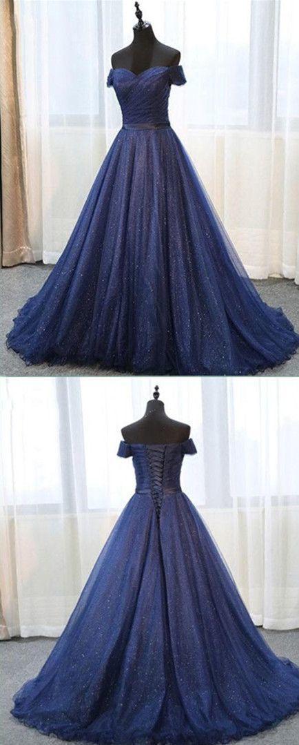 Ball Gown Navy Blue Prom Dress, long prom dress, evening dress,Ball Gown,prom
