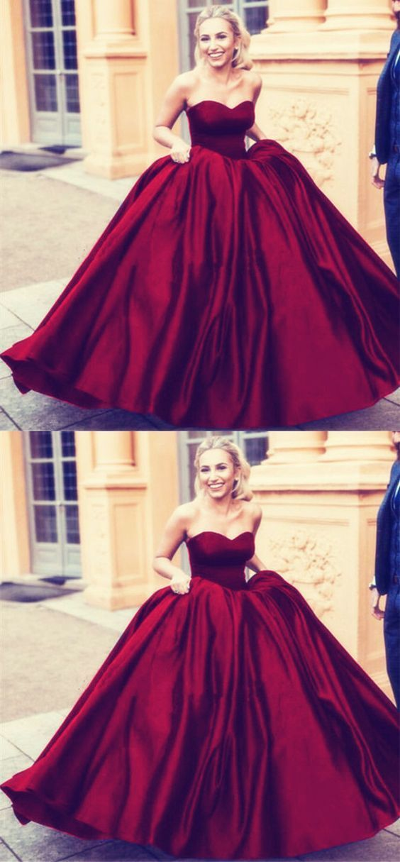Burgundy sweetheart ball gowns satin wedding dresses 2019