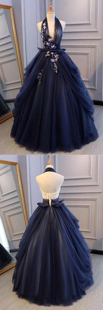 Beautiful blue tulle long prom dress, gorgeous blue tulle evening dress