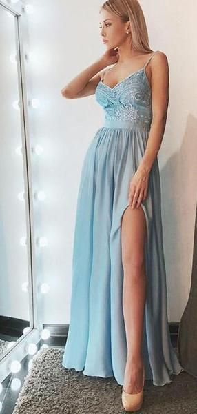 Spaghetti Light Blue Prom Dresses, Side Slit Prom Dresses, Chiffon Lace Prom