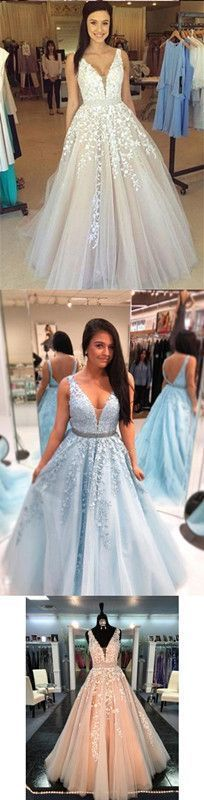 A-line Prom Dress Lace V Neck Cheap Long Prom Dress