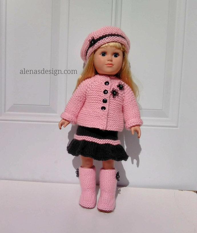 Knitting Pattern 222 Pretty 'N' Pink Doll Set 18 inch Doll 4 PC Set Knitting