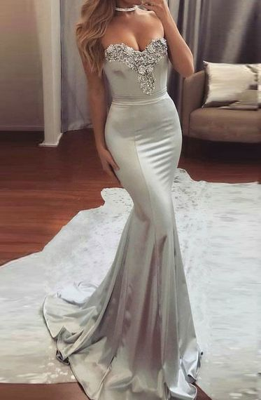 Mermaid Sweetheart Prom Dress Sweep Train Grey Satin with Beading