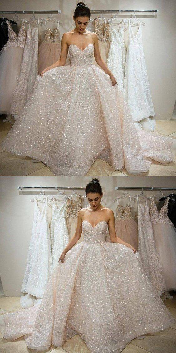 2019 A-Line Sweetheart Sleeveless Wedding Dress ,Prom Dress, Simple Cheap Custom