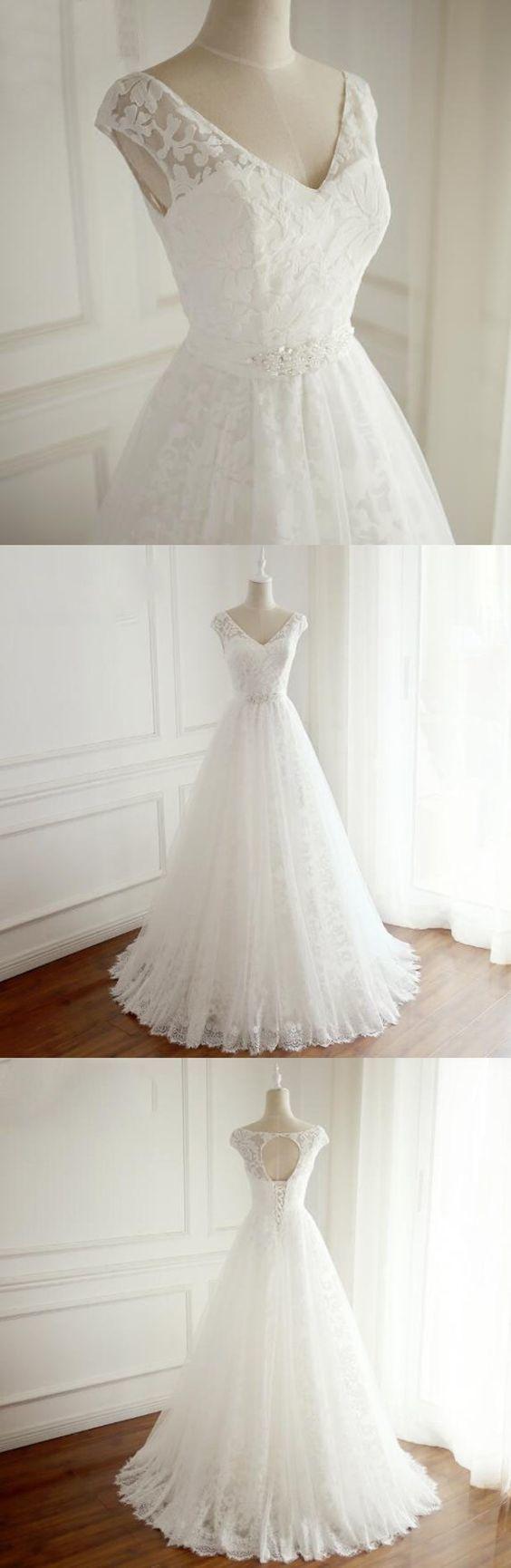 Copy of 2019 A-Line Sweetheart Sleeveless Wedding Dress ,Prom Dress, Simple