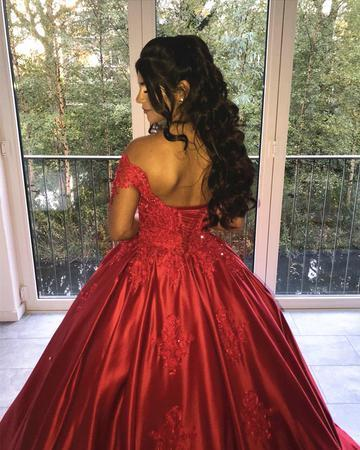 Charming Off the Shoulder Appliques Ball Gown Wedding Dresses, Red Bridal Gown