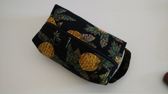 Pineapple Zipper Cosmetic Bag, Bridal Shower Gift,  Fabric Pineapple Toiletry