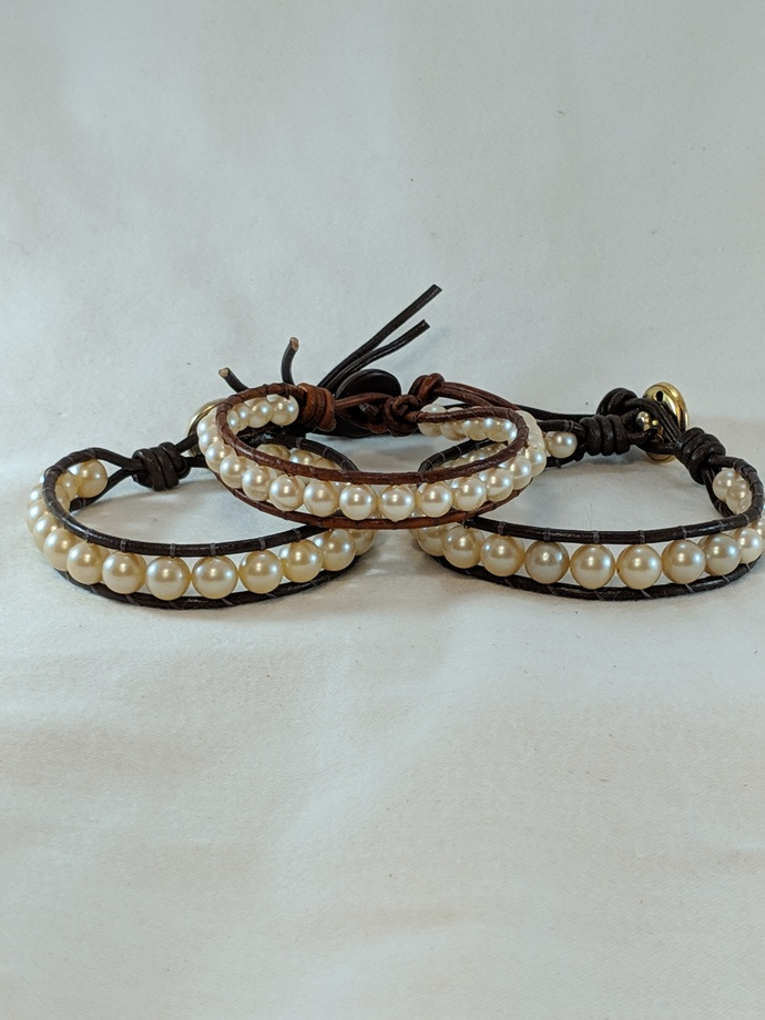 LB 021319 11 Leather  and Pearl Bracelet
