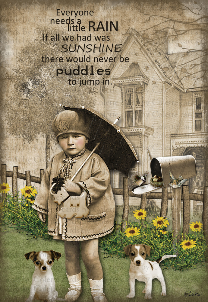 Rainy Day Digital Collage Greeting Card04