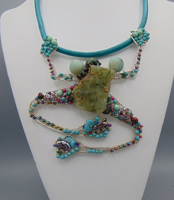 Large  Bejeweled Sterling Silver Frog on Leather Cord Necklace