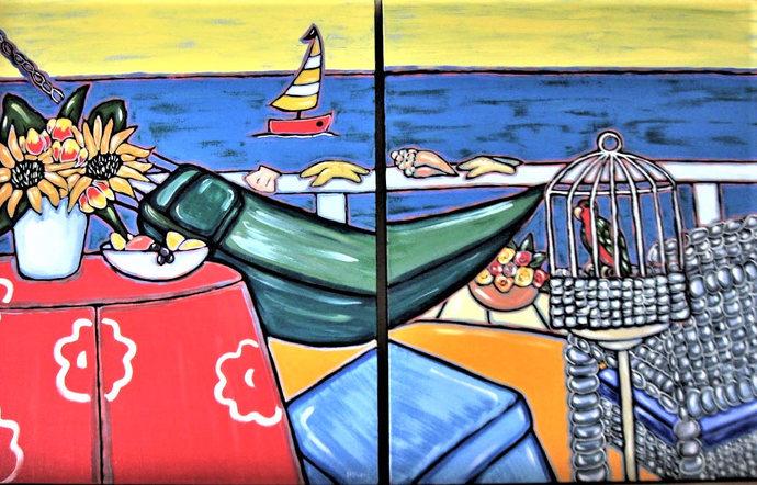 "Original acrylic Beach diptych painting on canvas, 48"" x 60"", beach cottage"