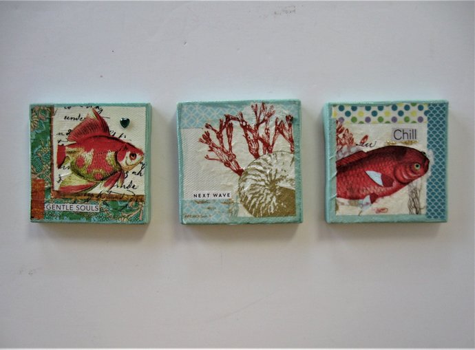 "Set of 3 Original Beach art magnets, Mixed Media Mini painting, 3"" x 3"", Collage"