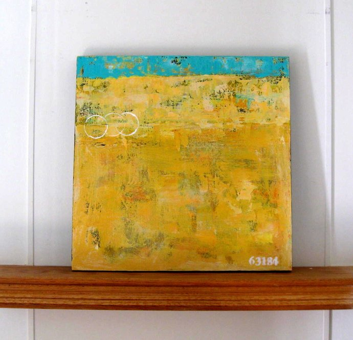 """SALE, Yellow original abstract acrylic painting, 24"""" x 24"""", Beach cottage decor,"""