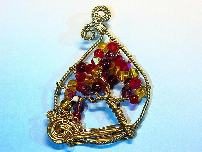 Wire wrap Autumn Tree of Life pendant in nickel silver and jeweler's bronze OOAK